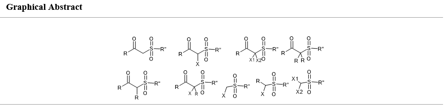 Spotlight: Synthesis and applications of sulfones viz β-keto-sulfones, α-halo β-keto-sulfones α-halo methyl sulphones and α, α-dihalo methyl sulphones
