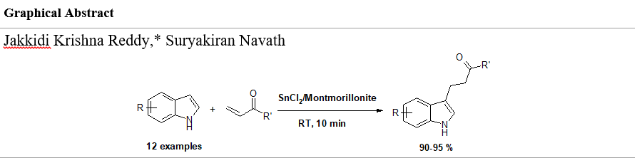 SnCl2/Montmorillonite KSF is an highly efficient heterogeneous reusable catalyst for the selective alkylation of indoles with α, β unsaturated carbonyl compounds under solvent free conditions